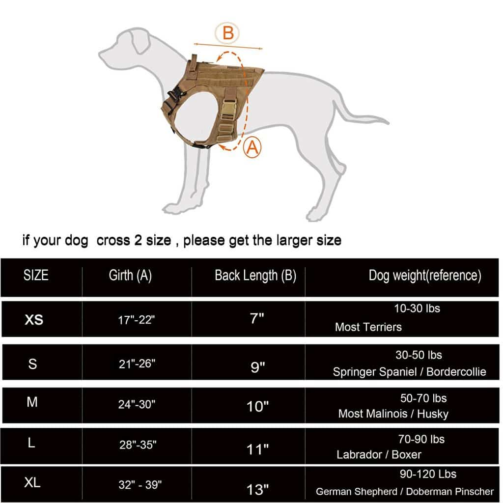 icefang tactical dog vest sizing chart